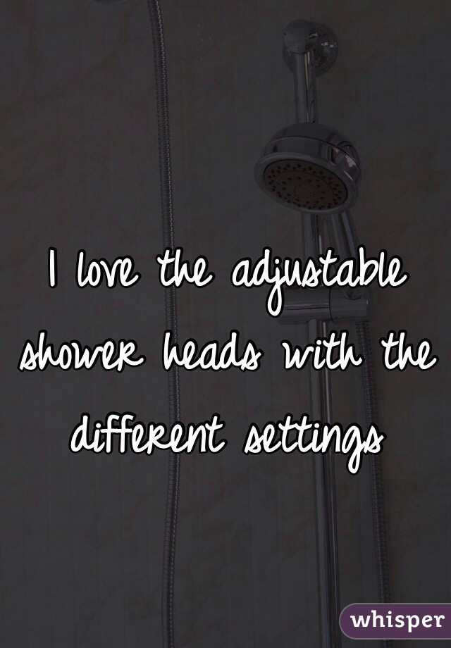 I love the adjustable shower heads with the different settings