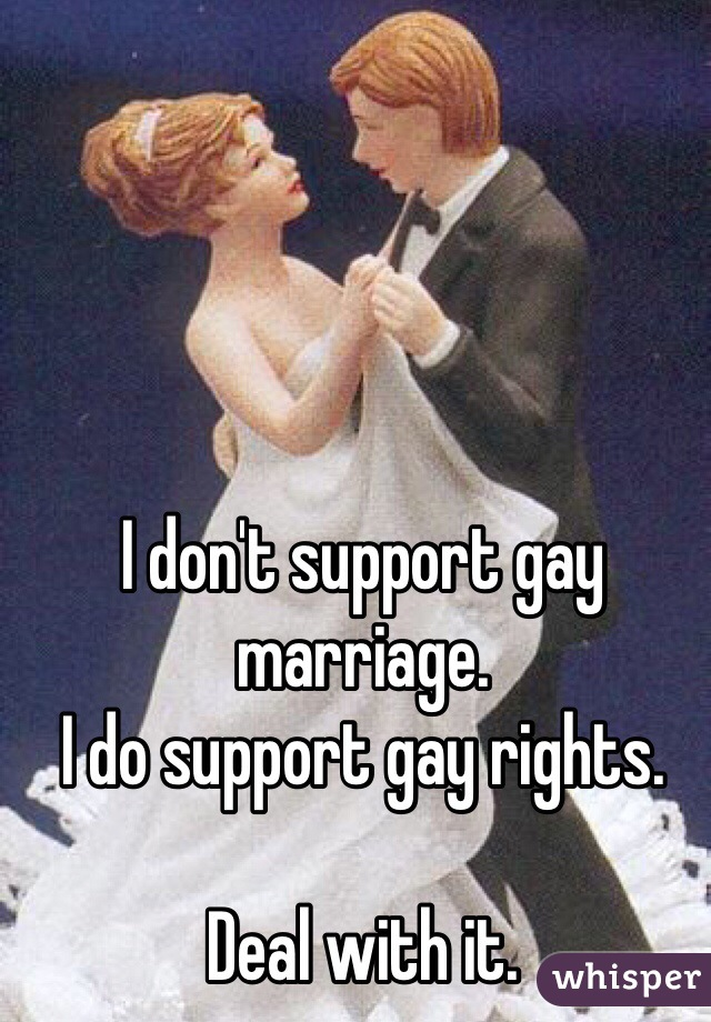 I don't support gay marriage.  I do support gay rights.   Deal with it.