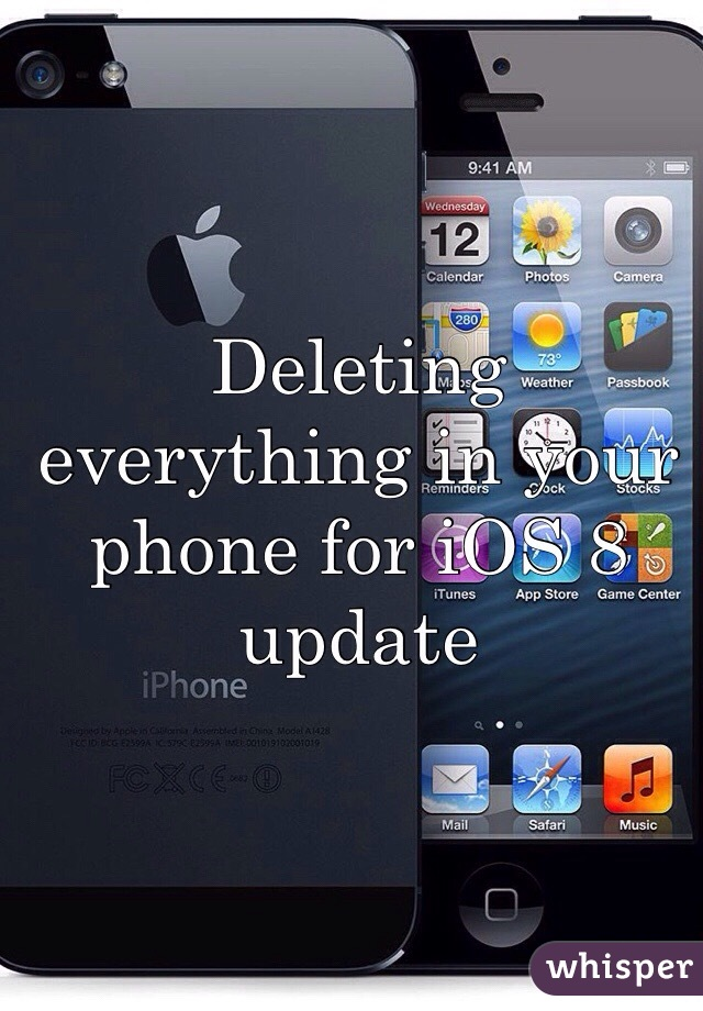 Deleting everything in your phone for iOS 8 update