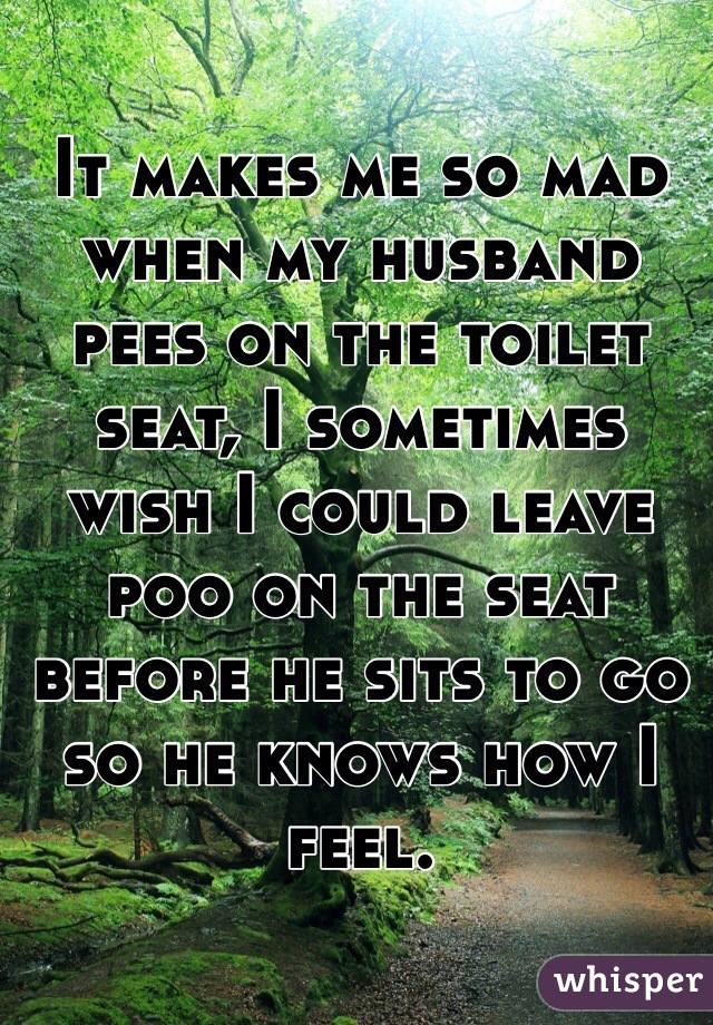 It makes me so mad when my husband pees on the toilet seat, I sometimes wish I could leave poo on the seat before he sits to go so he knows how I feel.