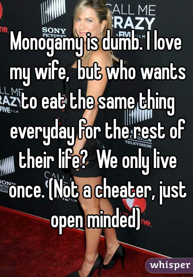Monogamy is dumb. I love my wife,  but who wants to eat the same thing everyday for the rest of their life?  We only live once. (Not a cheater, just open minded)