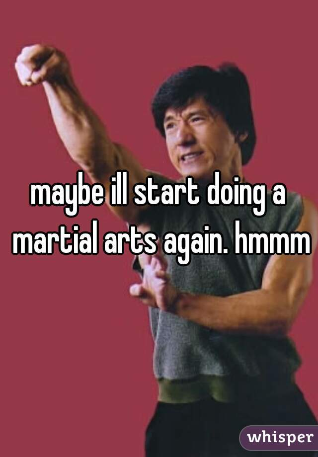 maybe ill start doing a martial arts again. hmmm