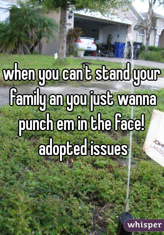 when you can't stand your family an you just wanna punch em in the face!  adopted issues