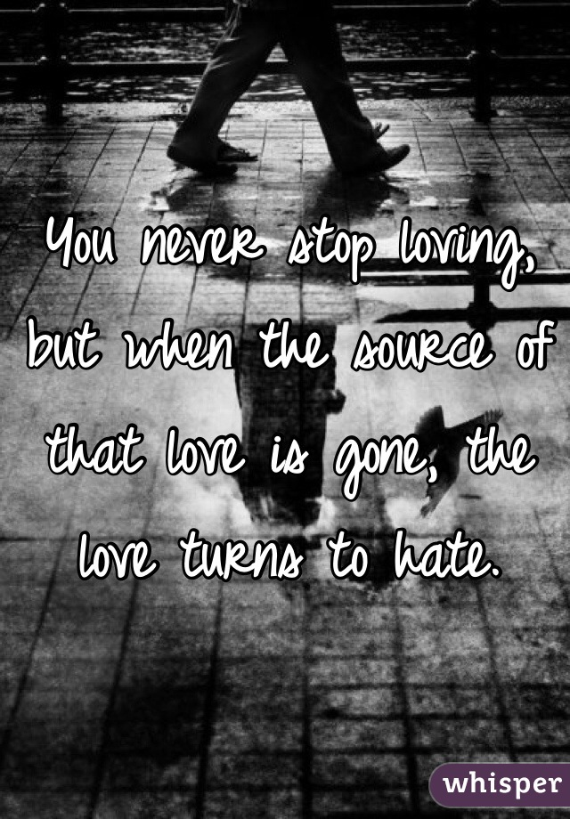 You never stop loving, but when the source of that love is gone, the love turns to hate.