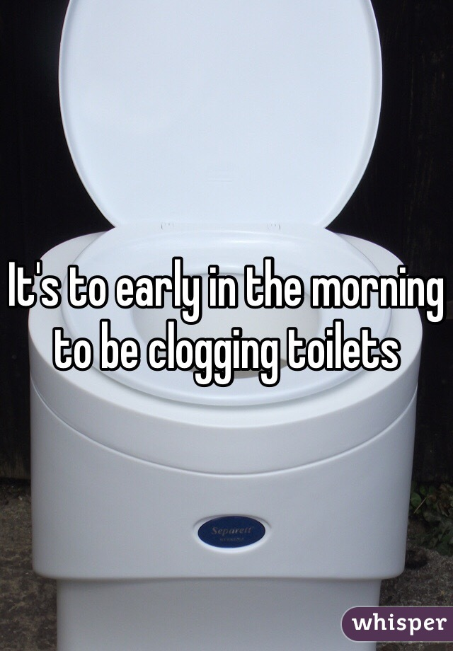 It's to early in the morning to be clogging toilets