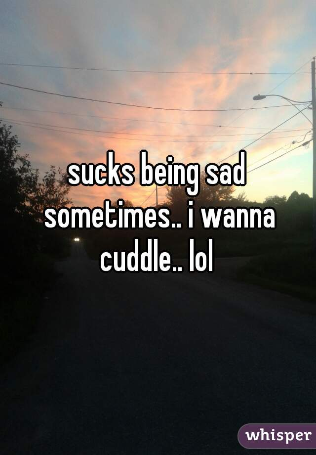 sucks being sad sometimes.. i wanna cuddle.. lol