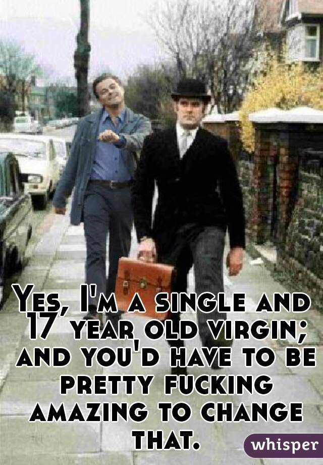 Yes, I'm a single and 17 year old virgin; and you'd have to be pretty fucking amazing to change that.
