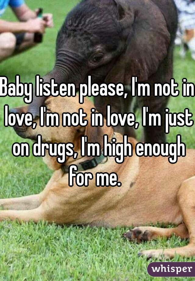 Baby listen please, I'm not in love, I'm not in love, I'm just on drugs, I'm high enough for me.