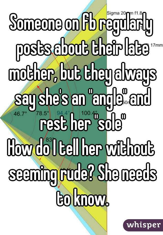 "Someone on fb regularly posts about their late mother, but they always say she's an ""angle"" and rest her ""sole"" How do I tell her without seeming rude? She needs to know."