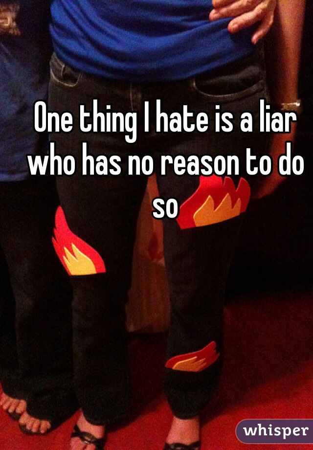 One thing I hate is a liar who has no reason to do so