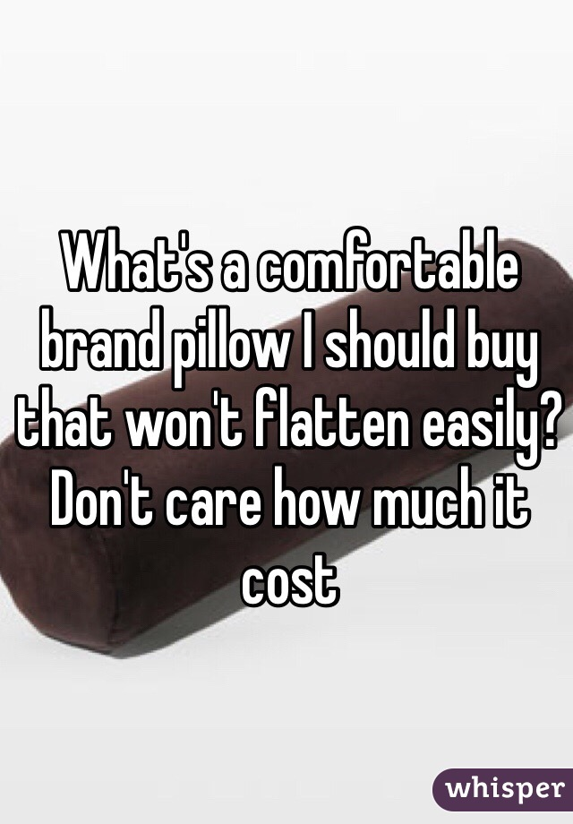 What's a comfortable brand pillow I should buy that won't flatten easily? Don't care how much it cost