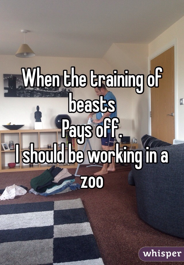 When the training of beasts Pays off. I should be working in a zoo
