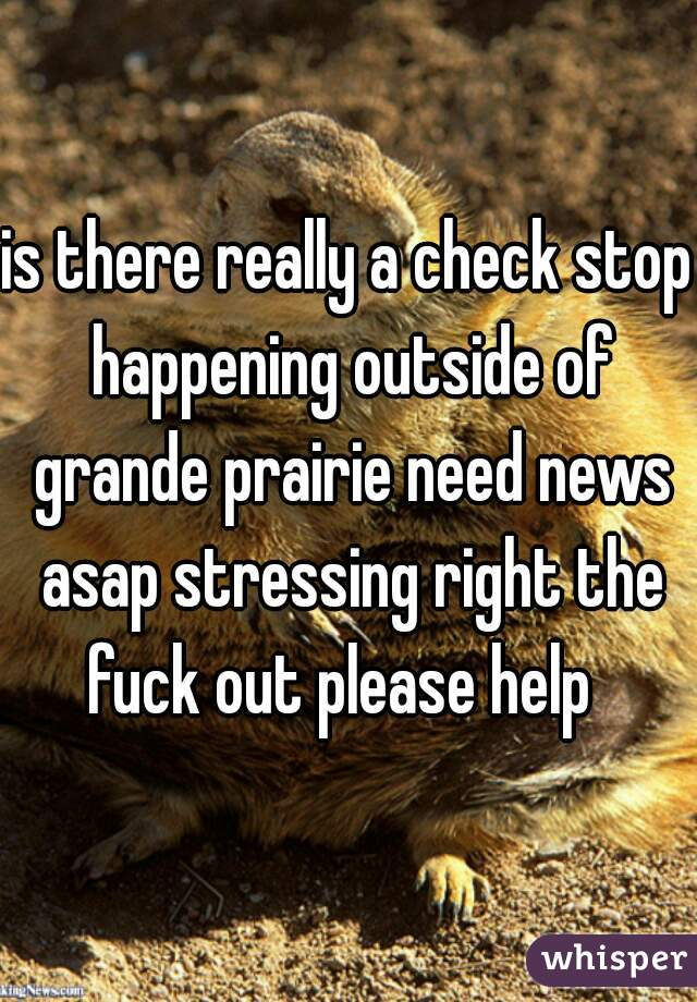 is there really a check stop happening outside of grande prairie need news asap stressing right the fuck out please help