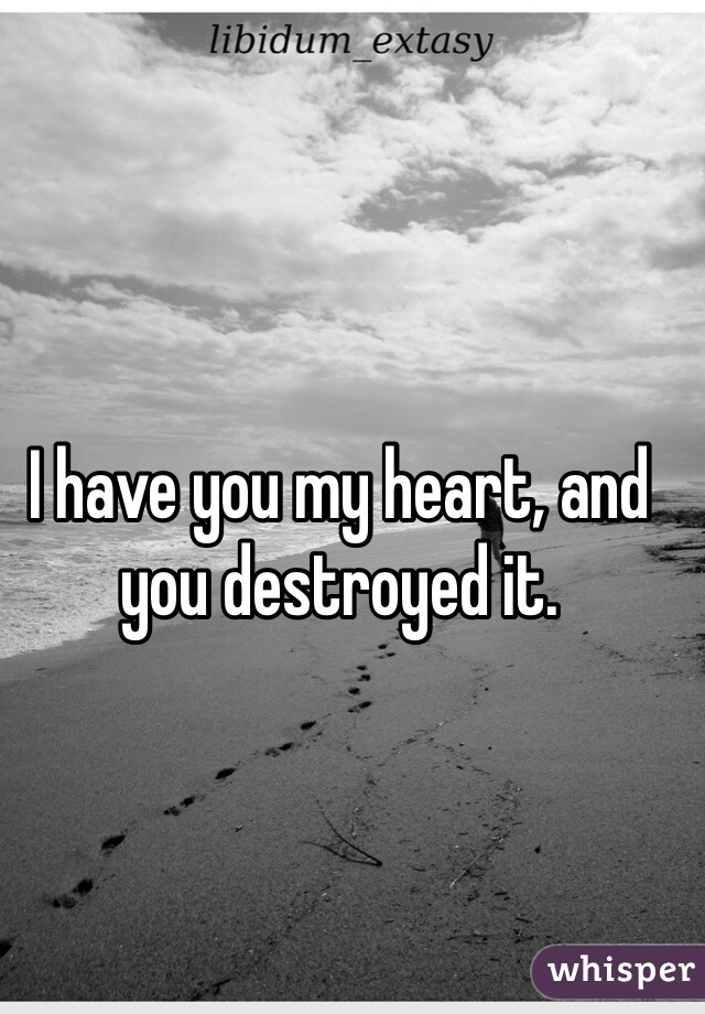 I have you my heart, and you destroyed it.