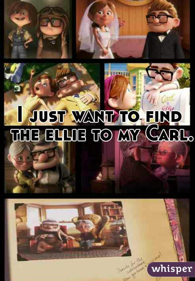 I just want to find the ellie to my Carl.