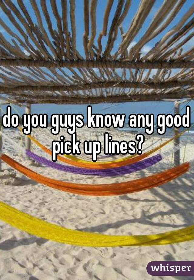 do you guys know any good pick up lines?