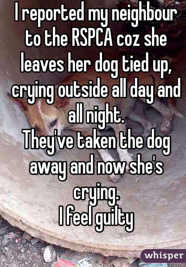 I reported my neighbour to the RSPCA coz she leaves her dog tied up, crying outside all day and all night. They've taken the dog away and now she's crying.  I feel guilty