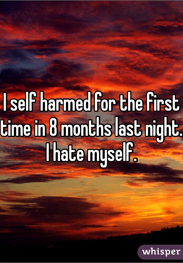 I self harmed for the first time in 8 months last night. I hate myself.