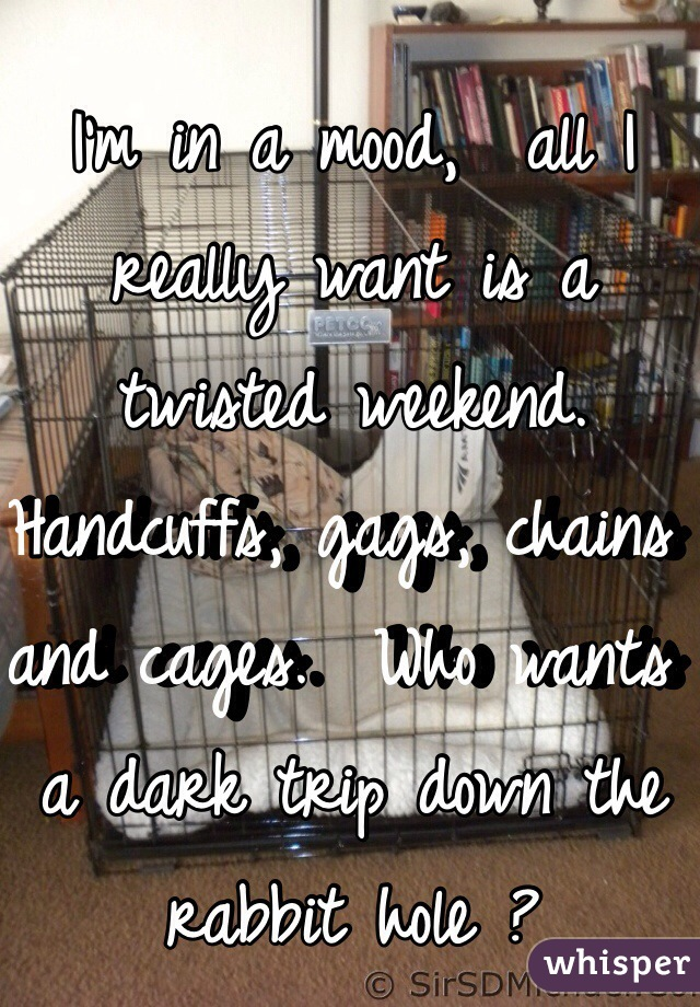 I'm in a mood,  all I really want is a twisted weekend.  Handcuffs, gags, chains and cages.  Who wants a dark trip down the rabbit hole ?