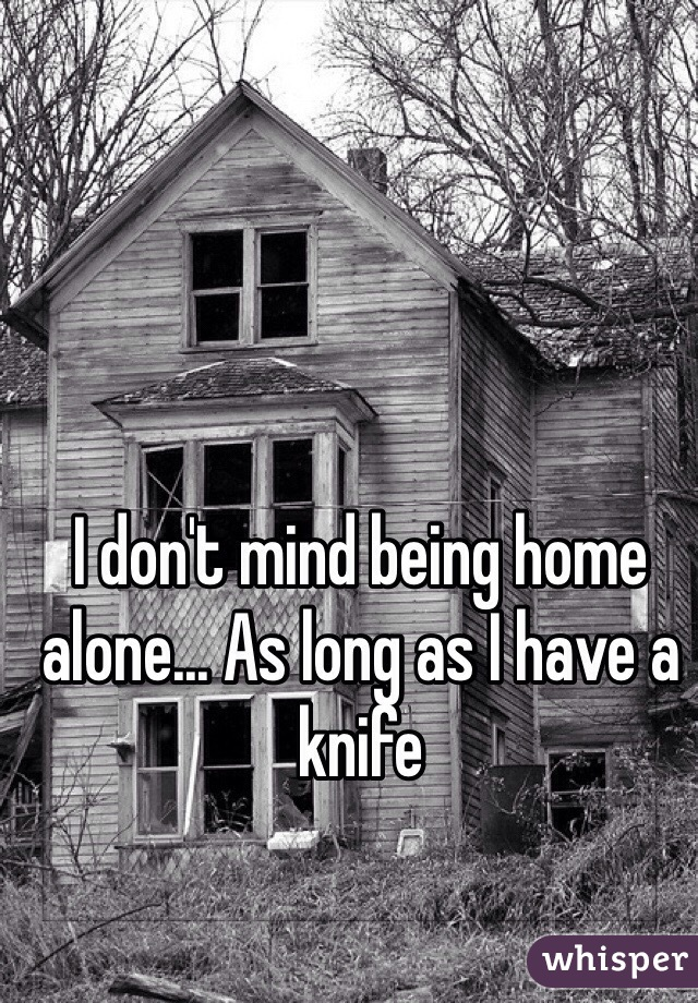 I don't mind being home alone... As long as I have a knife