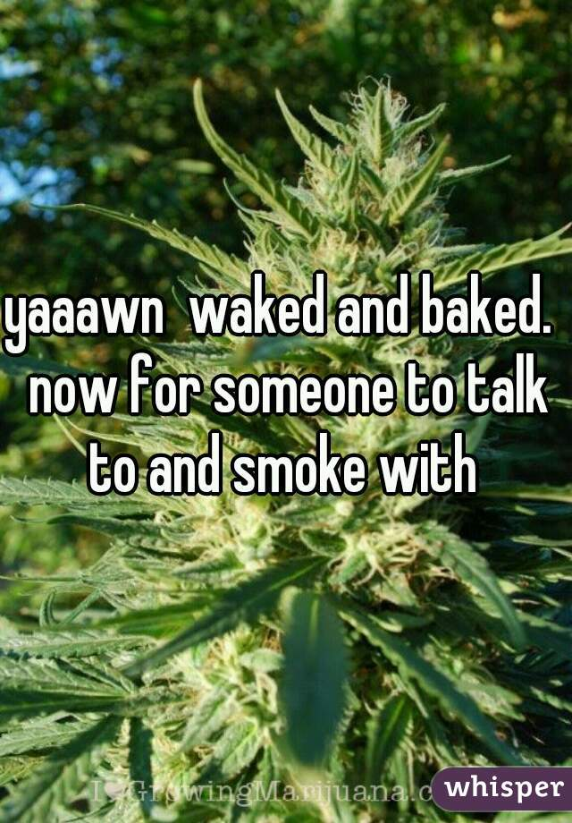 yaaawn  waked and baked.  now for someone to talk to and smoke with