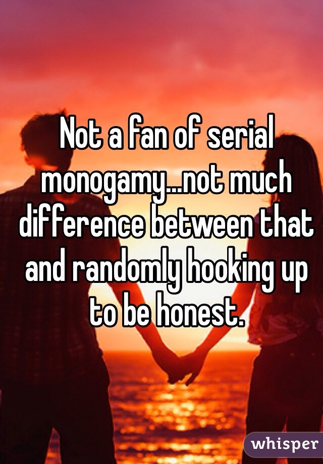 Not a fan of serial monogamy...not much difference between that and randomly hooking up to be honest.