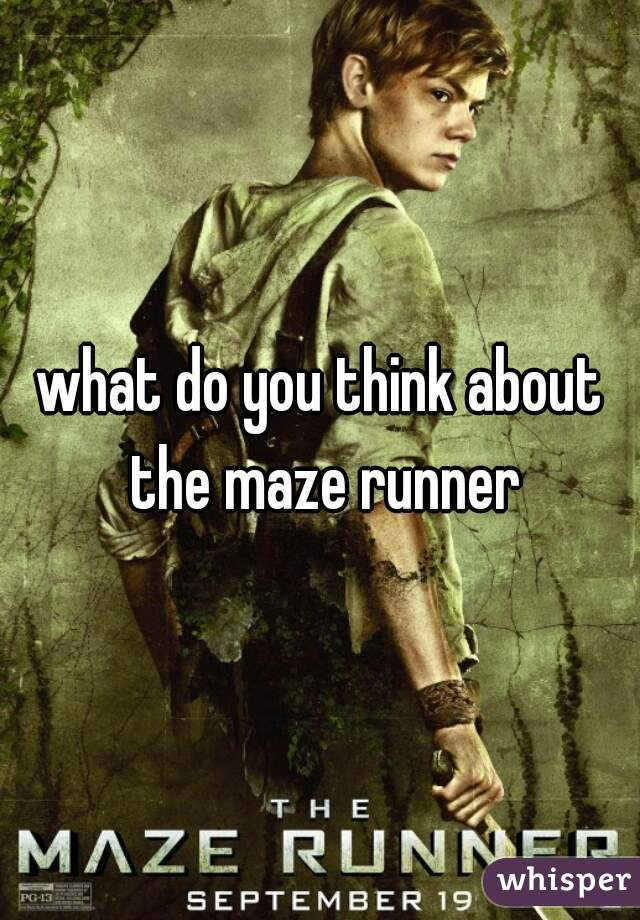 what do you think about the maze runner