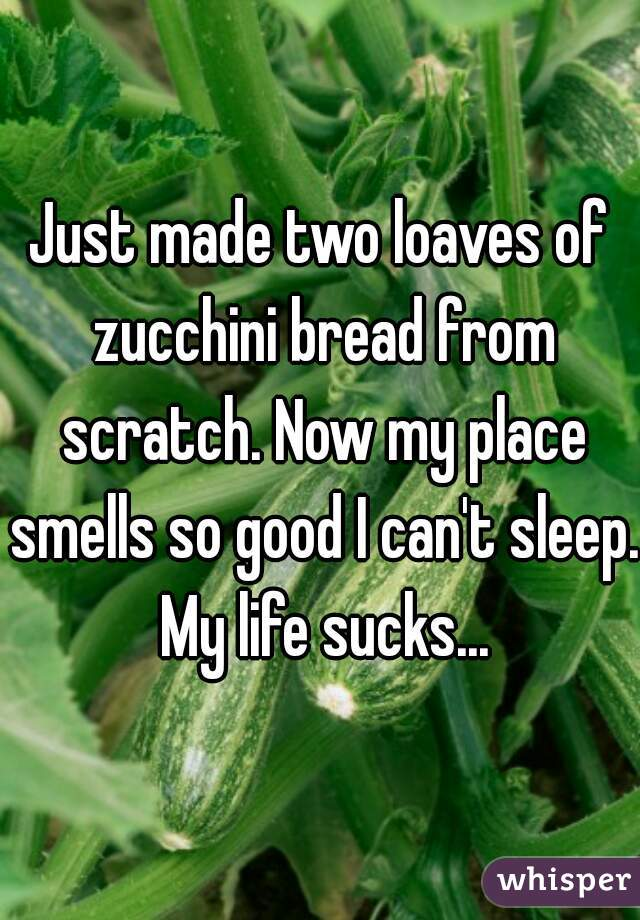 Just made two loaves of zucchini bread from scratch. Now my place smells so good I can't sleep. My life sucks...