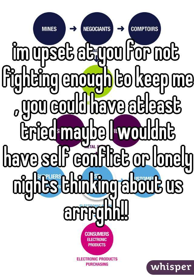 im upset at you for not fighting enough to keep me , you could have atleast tried maybe I wouldnt have self conflict or lonely nights thinking about us arrrghh!!