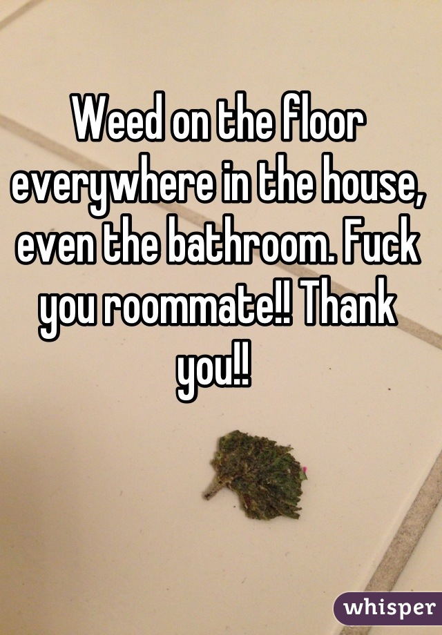 Weed on the floor everywhere in the house, even the bathroom. Fuck you roommate!! Thank you!!