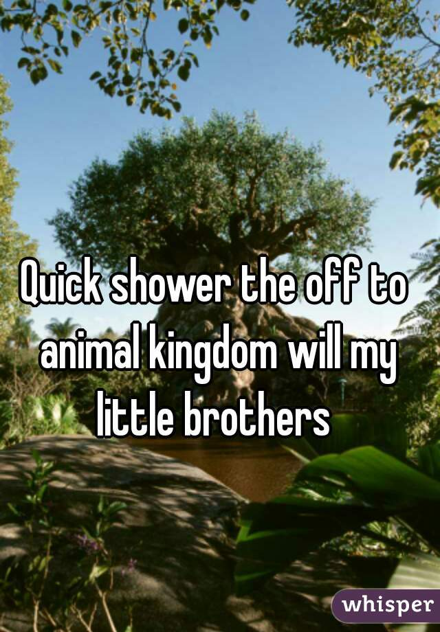 Quick shower the off to animal kingdom will my little brothers