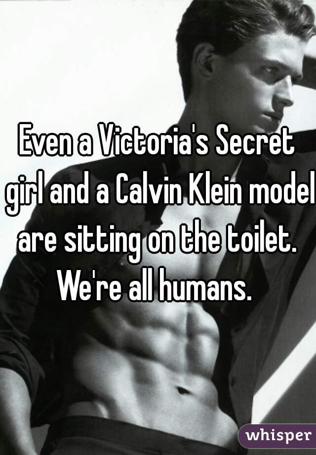 Even a Victoria's Secret girl and a Calvin Klein model are sitting on the toilet.  We're all humans.