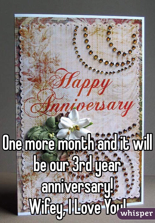 One more month and it will be our 3rd year anniversary!  Wifey, I Love You!