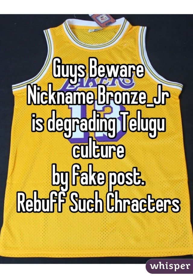 Guys Beware Nickname Bronze_Jr is degrading Telugu culture by fake post. Rebuff Such Chracters