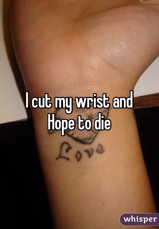 I cut my wrist and  Hope to die