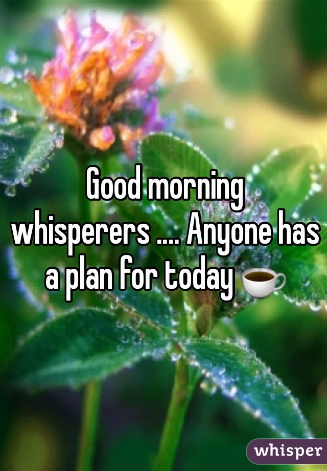 Good morning whisperers .... Anyone has a plan for today ☕️