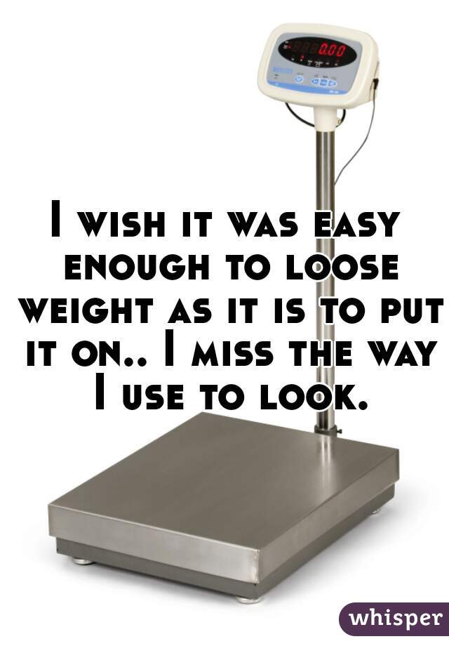 I wish it was easy enough to loose weight as it is to put it on.. I miss the way I use to look.