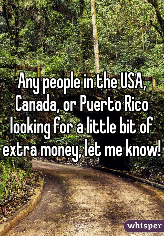 Any people in the USA, Canada, or Puerto Rico looking for a little bit of extra money, let me know!