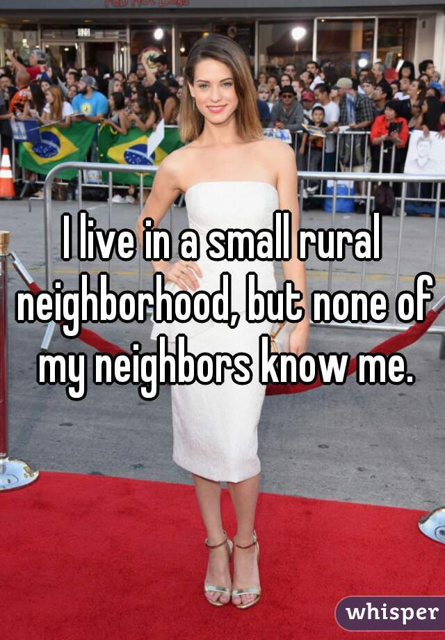 I live in a small rural neighborhood, but none of my neighbors know me.