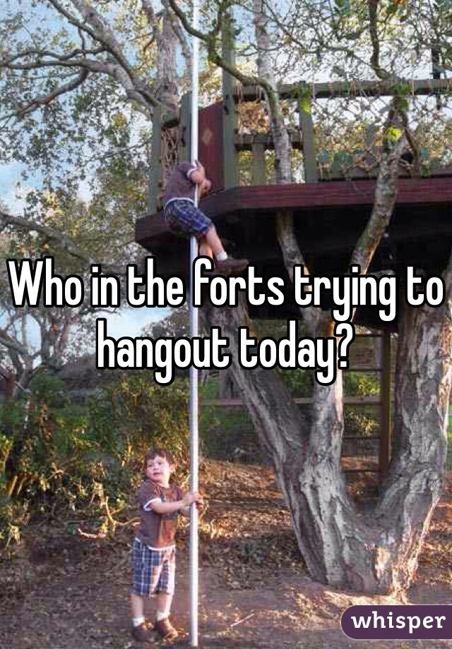 Who in the forts trying to hangout today?