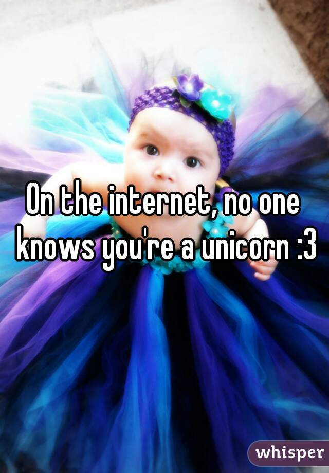 On the internet, no one knows you're a unicorn :3