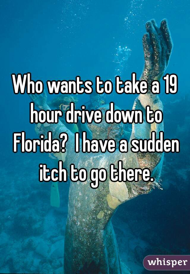 Who wants to take a 19 hour drive down to Florida?  I have a sudden itch to go there.