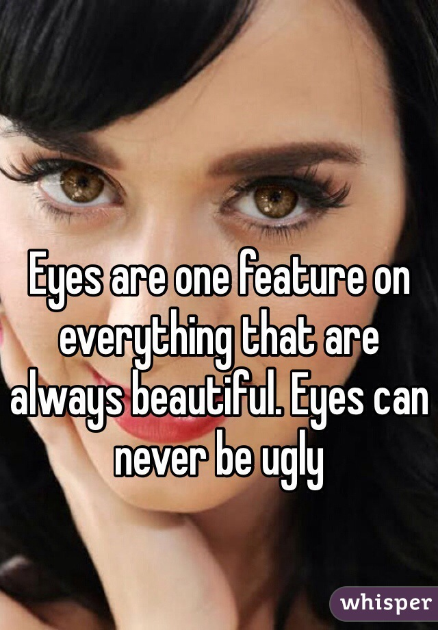 Eyes are one feature on everything that are always beautiful. Eyes can never be ugly