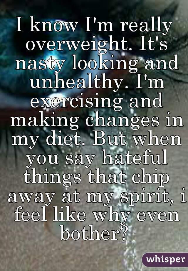 I know I'm really overweight. It's nasty looking and unhealthy. I'm exercising and making changes in my diet. But when you say hateful things that chip away at my spirit, i feel like why even bother?