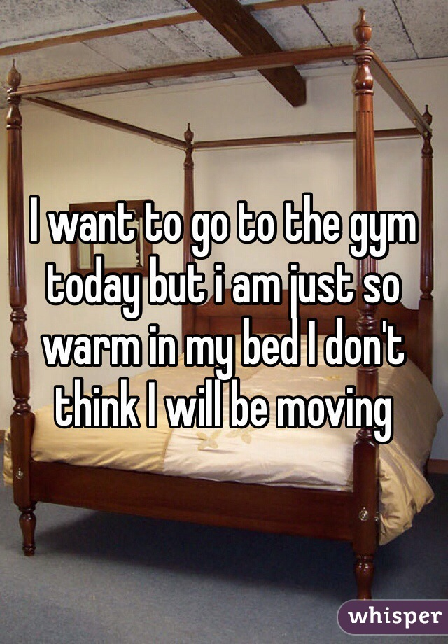 I want to go to the gym today but i am just so warm in my bed I don't think I will be moving