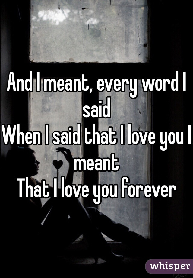 And I meant, every word I said When I said that I love you I meant That I love you forever