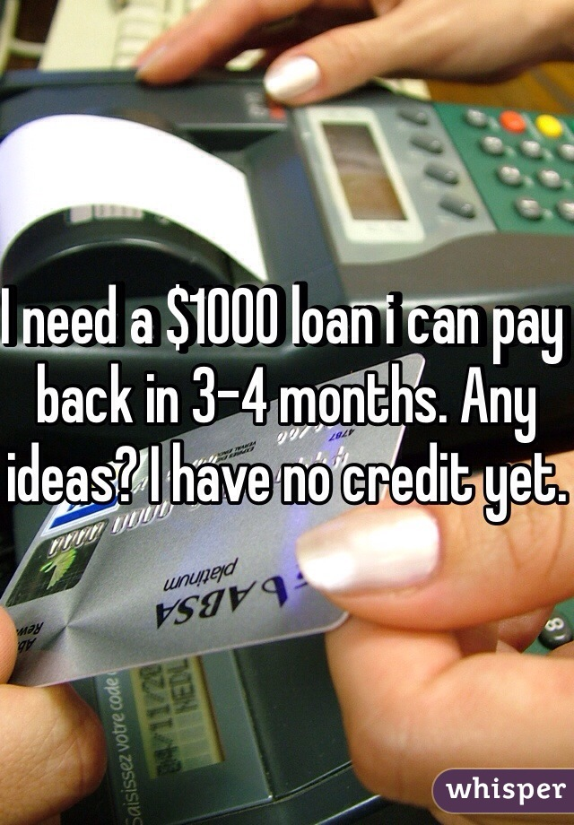 I need a $1000 loan i can pay back in 3-4 months. Any ideas? I have no credit yet.