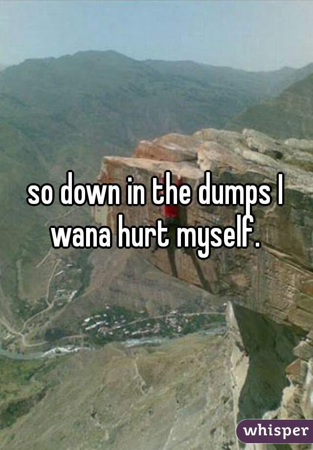 so down in the dumps I wana hurt myself.