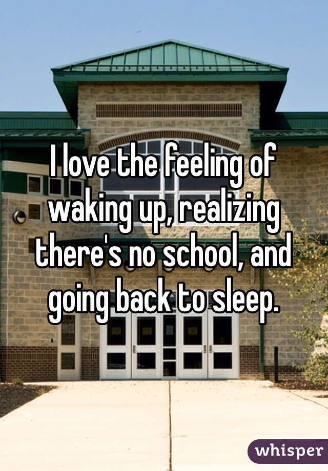 I love the feeling of waking up, realizing there's no school, and going back to sleep.
