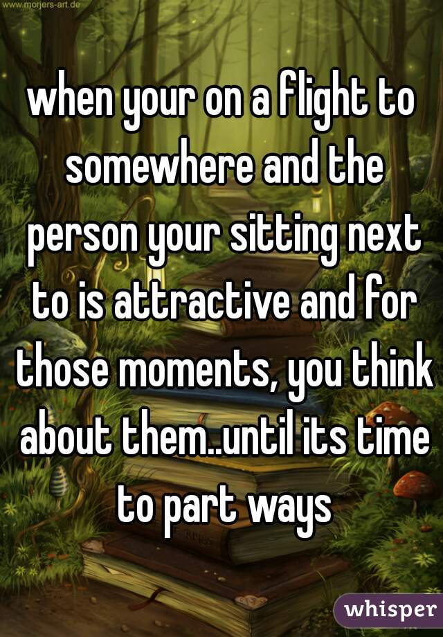 when your on a flight to somewhere and the person your sitting next to is attractive and for those moments, you think about them..until its time to part ways